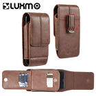 Brown Leather Belt Clip Mens Pouch Holster Holder Vertical With Wallet Card Slot