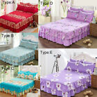 Cotton Fabric Floral Bedspread Bed Skirt Cover Sheet Pillowcase Queen Size Decro image