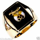 Shriner Mason Black Onyx 2 Clear Crystal Stone Gold Plated Men Ring Size 8-14