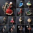 Fashion Flower Dancing Girl Crystal Pearl Brooch Pin Women Jewelry Wedding Gift image