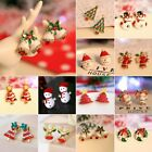Christmas Women Crystal Snowman Tree Ear Stud Earrings Jewelry Gift Wholesale