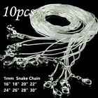 10PCS wholesale solid silver plated 1MM snake chain necklace 16inch-30inch image