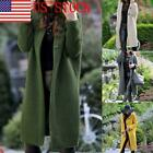 US Women's Long Sleeve Open Front Hoodie Knit Sweater Cardigan Solid Color Coat