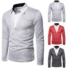 Men Simple Long Sleeve Fake Two Pieces Blouse Shirt  V-Collar Business Tops