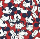 Disney Red & Navy Mickey Mouse 100% Cotton Fabric, Per FQ, 1/2 Metre 147cm Wide