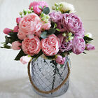 5 Head Artificial Rose Flower Fabric Bridal Bouquet Wedding Party Decor Code