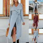 Women Belt Lace Up Cardigan Long Sweater Jjumper Knitted Tthick Casual Coat GIFT