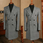 Mens Tweed Suit Houndstooth Check Retro Peak Lapel Double-breasted Tailored Suit