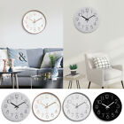 12 Non-Ticking Quartz Battery Operated Round Wall Clock Mute Living Room Decor