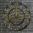 Retro Large Wall Clock Giant 3D Roman Numeral Gear Silent Outdoor Garden Decor