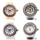 Rhinstone Quartz Analog Ring Watch Mens Womens Creative Alloy Finger Ring Watch