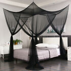 4 Corner Black Post Mosquito Net Curtain Bed Canopy Outdoor Indoor image