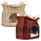 Wicker Basket Dog Bed Raised Pet Bed with Fleece Cushion Small Dog Animal House