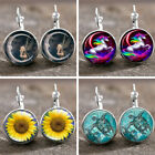 1 pair Dragon's Eye Bronze Trendy Glass Cabochon 18 MM Lever Back Earrings Gift image
