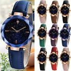 Women Watches Luxurious Starry Dial Convex Mirror Leather Strap Wrist Watch Gift image