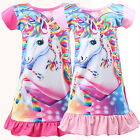 Kids Girl Unicorn Tunic Sleepwear Pajamas Nightwear T-shirt Skirt Dress Fancy