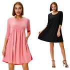 Women's Ladies 3/4 Sleeve Empire Waist Tunic Crew Neck Flared A Line Swing Dress