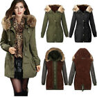 Womens Fur Collar Hooded Winter Warm Jacket Trench Parka Hoodies Coat Outerwear