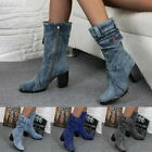Women Fashion Boots Denim Round Toe Cowboy Style High Heels Casual Shoes GIFT