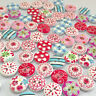 KM_ KF_ JT_ 100Pcs Floral Grid Mixed Wooden Buttons for DIY Sewing Scrapbookin