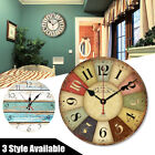 Large Vintage Wooden Wall Clock Chic Kitchen Home Decor Antique Style 30cm