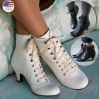Women Faux Leather Booties Steampunk  Low Heel Vintage Lace Up Ankle Boots