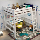 High Sleeper With Ladder Loft Bunk Bed Frame White/Pine Wood Sleeping Bed HOEM