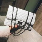 Women Quilted Chain Bag PU Leather Shoulder Bag Crossbody Handbag Messenger image