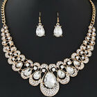 Women Gold Plated Chain Necklace Earrings Crystal Rhinestone Jewelry Set InPTH