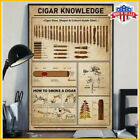 Cigar Knowledge Poster Black White Poster No Frame Art Print Made In USA