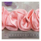 1 METRE PEACH SATIN RUFFLE TRIM FABRIC HABERDASHERY TRIMMING - UK SELLER