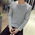 Summer Tops T-Shirt Neck Sleeve Stripe Casual Loose Polyester Hoiliday