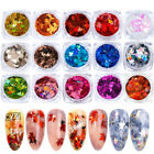 Maple Leaves Nail Art Glitter Sequins Holographic Flakes Chameleon Stickers Tips