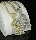 "Men Women Iced Jesus Piece 1.5"" Pendant 14k Gold Silver Plated 24"" Rope Necklace"