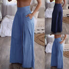 ZANZEA Women High Waist Wide Legs Loose Long Pants Casual Baggy Trousers Plus