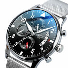 Men's Quartz Military Analog Date Wrist Watch Stainless Steel Mesh Chronograph image