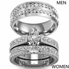 Couple Rings Titanium Steel Mens Band Marquise Cut Cz Womens Wedding Ring Sets