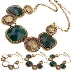 Vintage Women Geometric Faux Gemstone Clavicle Chain Necklace Jewelry Gift Sanwo
