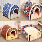 S-L 2 in 1 Dog House Cat Igloo Foldable Washable Pet Cat Bed Cave Non-Slip Warm