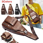 Men's Messenger Bag Leather Chest Bags Crossbody Shoulder Bags Zipper Handbag