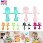 Baby Spoon Fork Self Feeding Utensil Sets Training Baby Toddler Eating Supplies