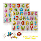 Wooden 3D Alphabet Numbers Puzzle Board Learning Educational Toy Baby Kids Gifts