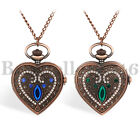 Womens Antique Bronze Tone Bohemian Heart Quartz Watch Necklace for XMAS Gift