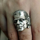 Men Frankenstein Rings Horror Scientist Stainless Steel Skull Ring Biker Jewelry