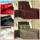 BLACK - SATIN SHEETS QUEEN Size Soft Silk Feel Bedding 4pc Set Luxury Bed Linen image