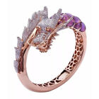 Fashion Dragon Women Rings 14k Rose Gold Plated White Sapphire Ring Size 5-11 image