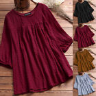 Vintage Women Half Sleeve Shirt Blouse Holiday Beach Loose Causal Tunic Tops Tee