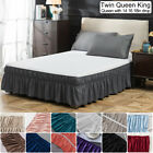 14'' 16'' 18'' Drop Bed Skirt Dust Ruffle Wrap Around Bed Twin Full Queen King