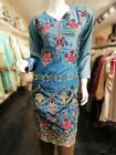 Indian Pakistani Salwar Kameez Designer Silk Embroidered Kurta Kurti Top Blue