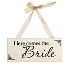 Wooden signs Here Comes the Bride or ...and they lived Happily ever after